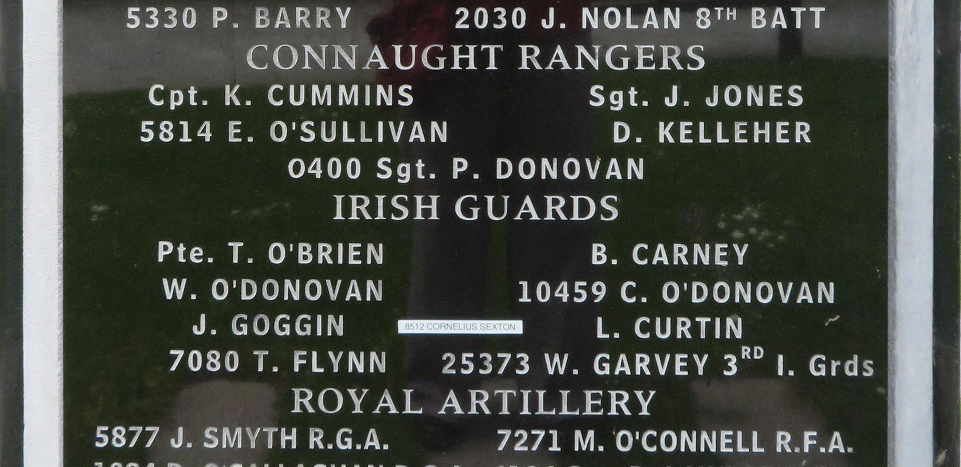 Cork WWI Memoral-left side of front face