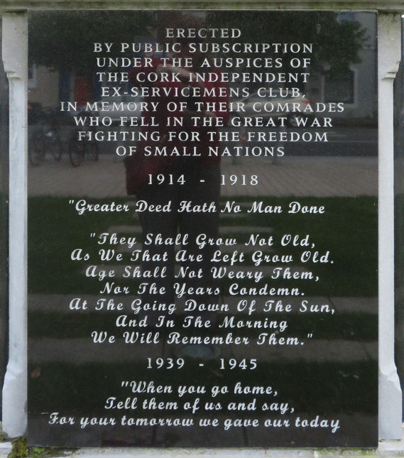 Cork WWI Memorial-front-facing inscription