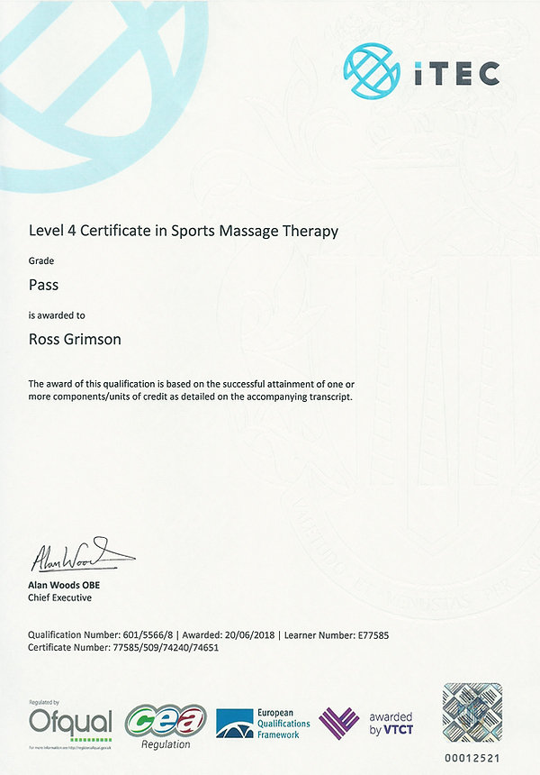 level 4 Certificte in sports massage