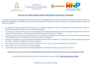 A la comunidad hondureña en Panamá se les reitera e invita a enrolarse para obtener el nuevo DNI.