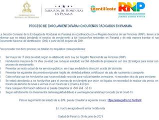 Proceso de Enrolamiento para hondureños radicados en Panamá
