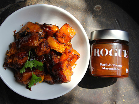Roasted Sweet Potatoes with Dark & Stormy Marmalade & Balsamic Glaze.