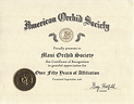 Maui Orchid Society Certificate of Recognition from American Orchid Society