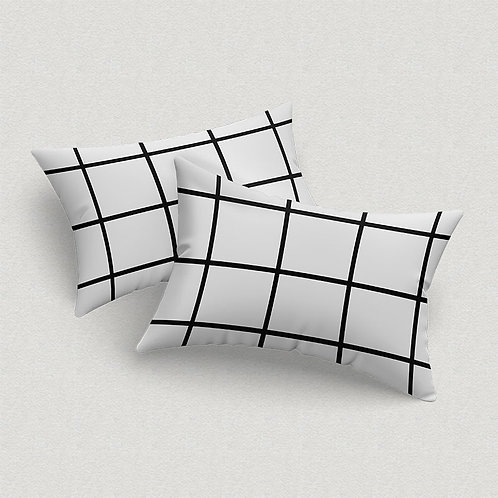 Par de Fronhas Grid Branca e Preta