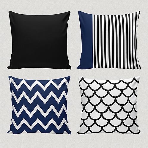 Conjunto de capas para almofadas azul e preto geométrico
