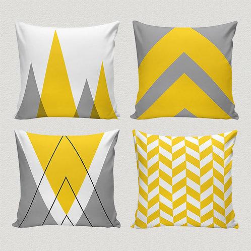 Conjunto capas de almofadas geométrico cinza e amarelo