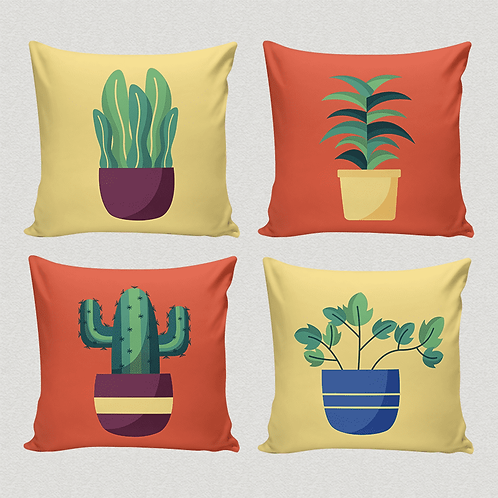 Conjunto de Almofadas Plantas Ilustradas