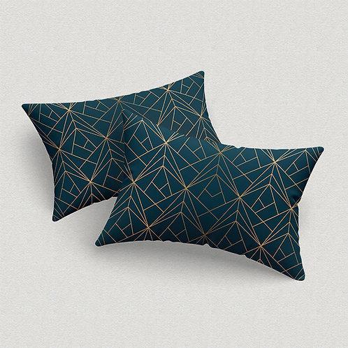 Par de Fronhas Grid Azul e Gold