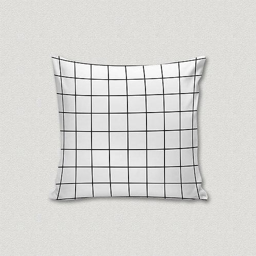 Almofada Grid Branco e Preto