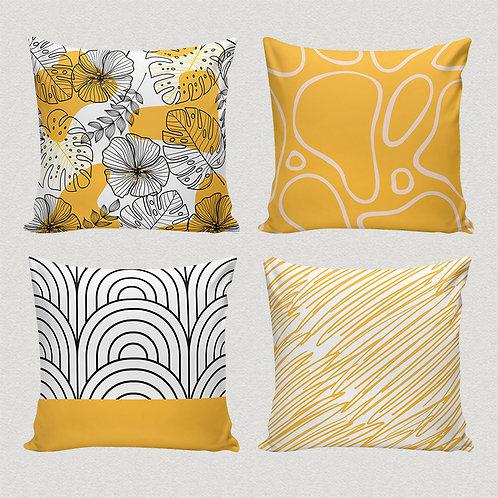 Conjunto de capas amarelo abstrato