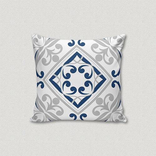 Almofada Azulejo Azul e Cinza