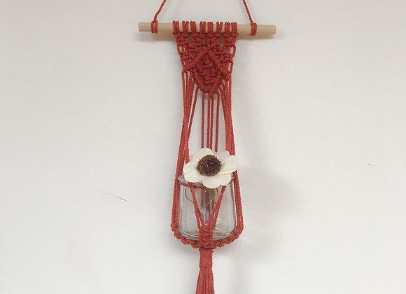 Macrame Wall Hanging (Burnt orange)with glass jar and flower