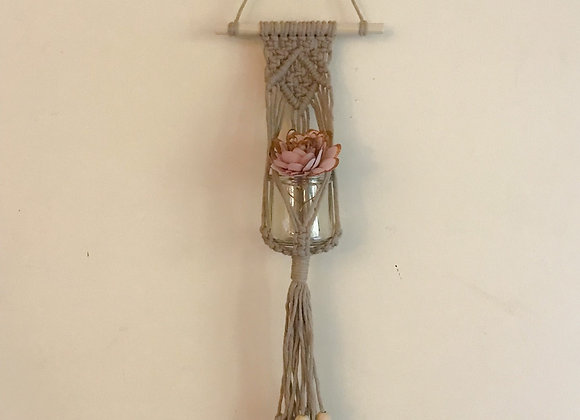 Macrame Wall Hanging (Pearl) with Sola Wood Flower