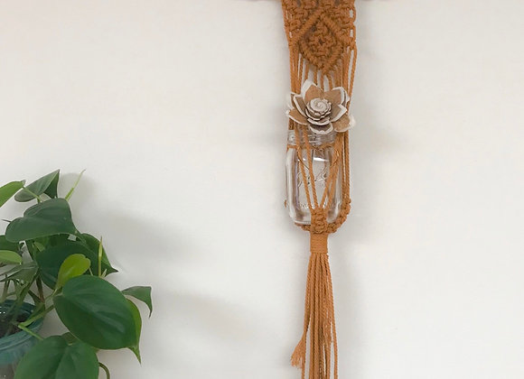 Macrame Wall Hanging with Glass Ball Jar and Sola Wood Flower