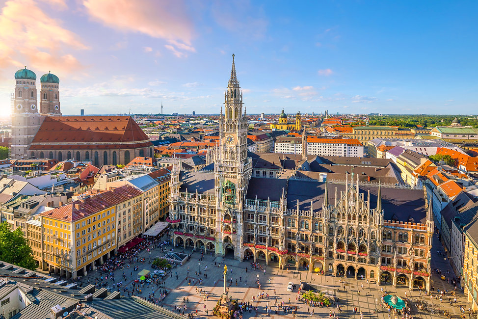 Munich skyline with  Marienplatz town ha