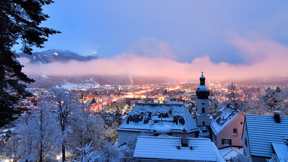 Cold winter snowy night in Germay ski to