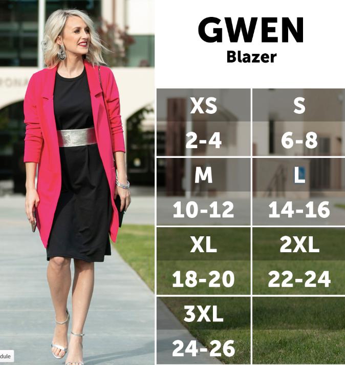 LuLaRoe Gwen Blazer size chart