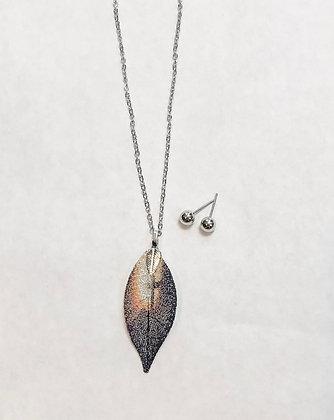 Reversible Leaf Necklace Set