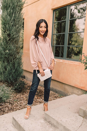 STRAIGHT LACED BLOUSE IN BLUSH - 9/10/2020
