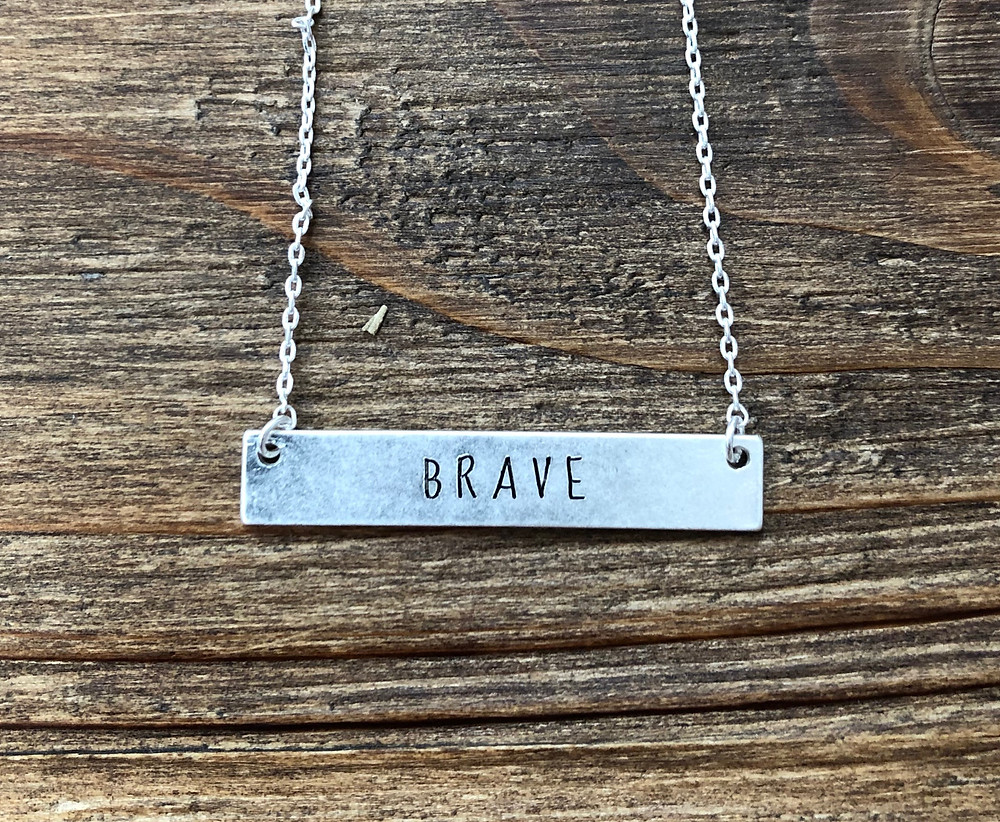 Engraved  bar necklace from the Brave and Beautiful Boutique