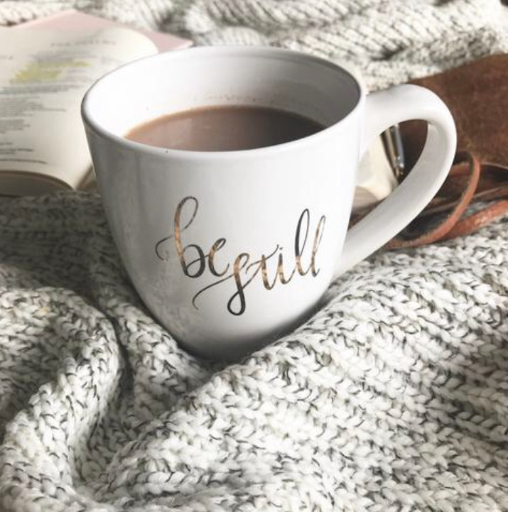 "I love cuddling up with this beautiful ""Be Still"" Mug from The Daily Grace Co."