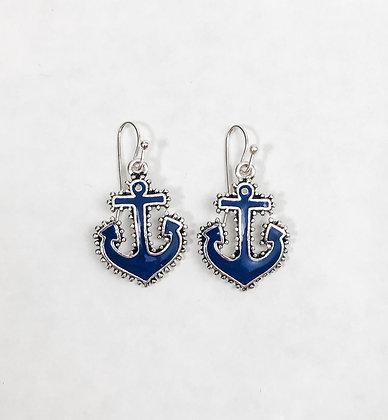 Blue Anchor Earrings