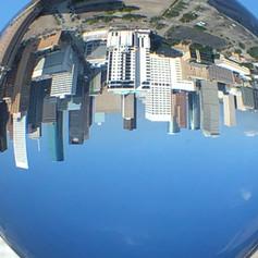 Houston skyline as seen through a glass ball. Photo by Gina Duncan