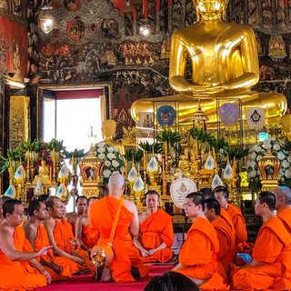 Buddhist Monks in Bangkok, Thailand  Photo by Gina Duncan