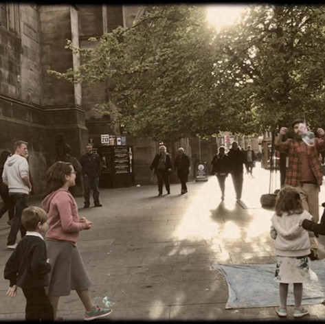Children playing with bubbles at Fringe Fest in Edinburgh, Scotland. Video by Gina Duncan