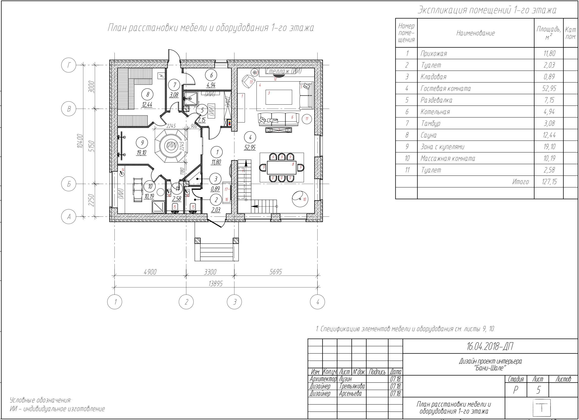 План Бани-Шале 1-й этаж