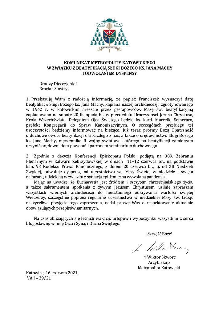 Abp_Komunikat w związku z beatyfikacją i odwołaniem dyspensy.jpg