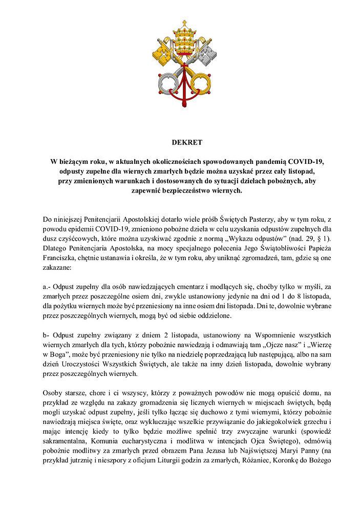 DEKRET Penitencjaria Apostolska 22.10.20