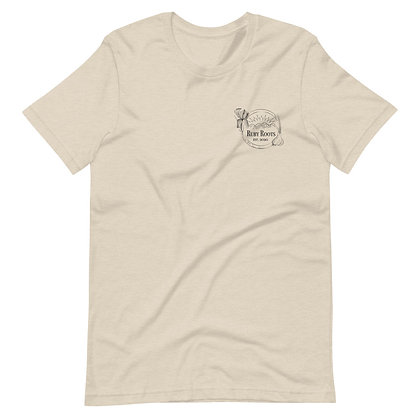 Ruby Roots Unisex T-Shirt, black embroidery