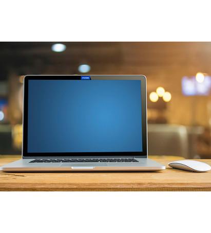 Thin blue on laptop