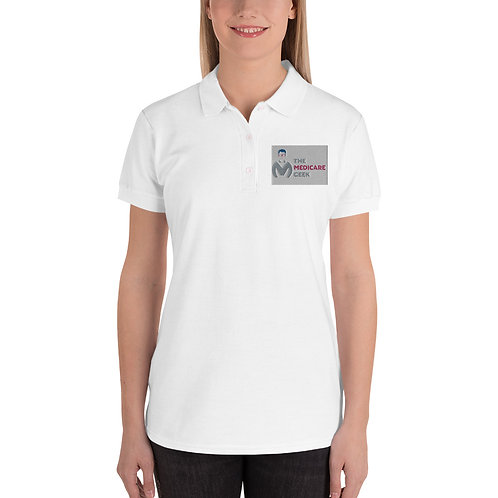 Embroidered Women's Polo Shirt White