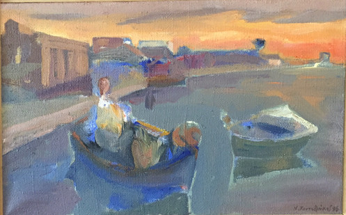 Fishing boat on harbour acrylic on canvas 64x41cm.jpg