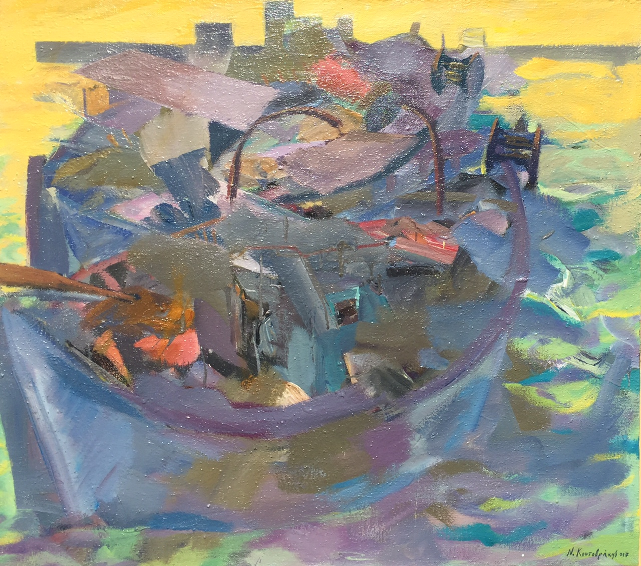 Fishing boats acrylic on canvas 100x90cm