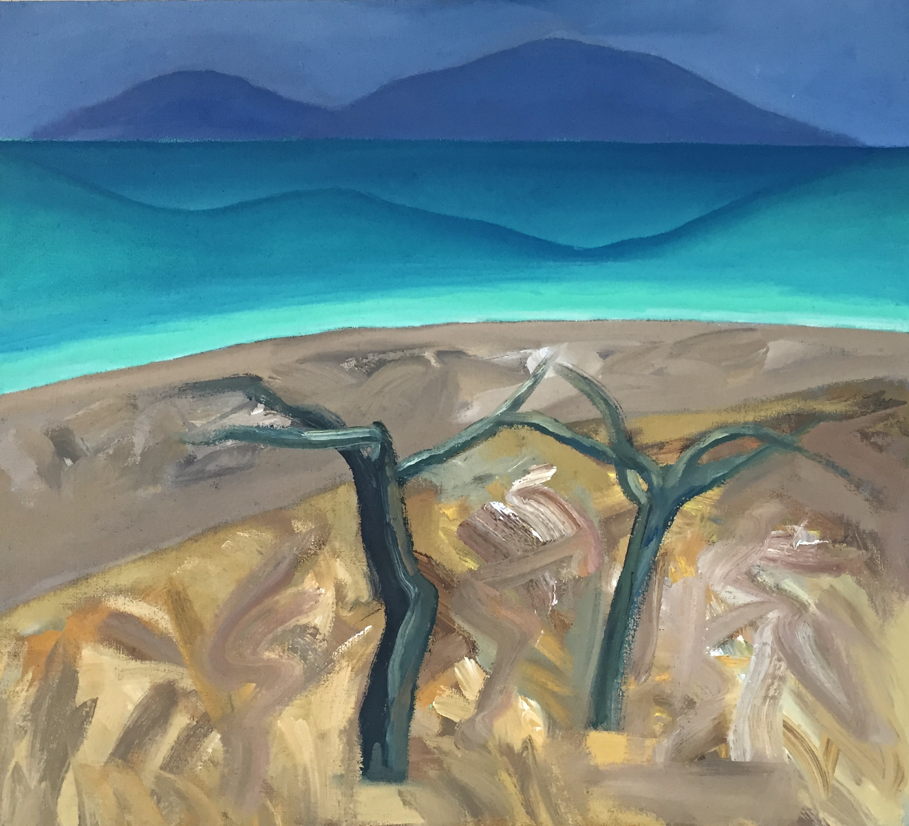 Trees by the sea acrylic on canvas