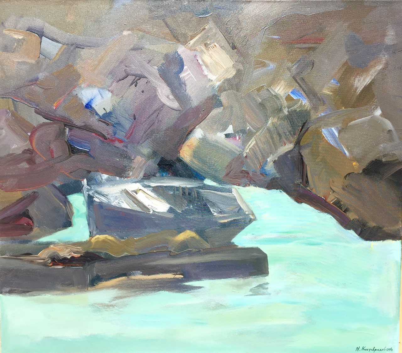 Fishing boat on harbour acrylic on canvas 80x70cm