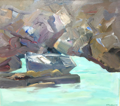 Fishing boat on harbour acrylic on canvas 80x70cm.jpg