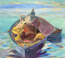 Fisherman acrylic on canvas 100x90cm
