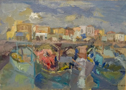 Fishing boats on harbour acrylic on canvas 53x38cm