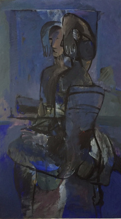 Woman in a mirror acrylic on canvas 190x110cm