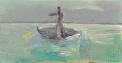 Fisherman/acrylic on wood/38.5x74cm
