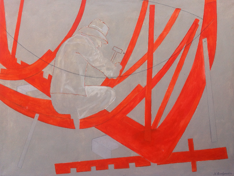 shipbuilders/acrylic on canvas
