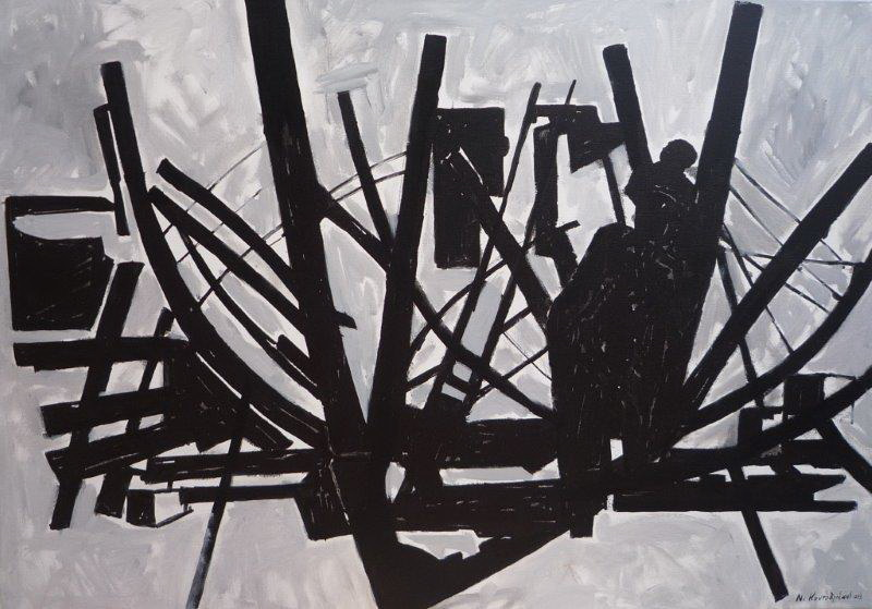 Shipbuilding/acrylic on canvas