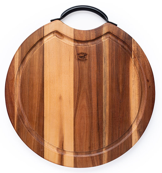 Acacia Cutting Board with Steel handle. 14""