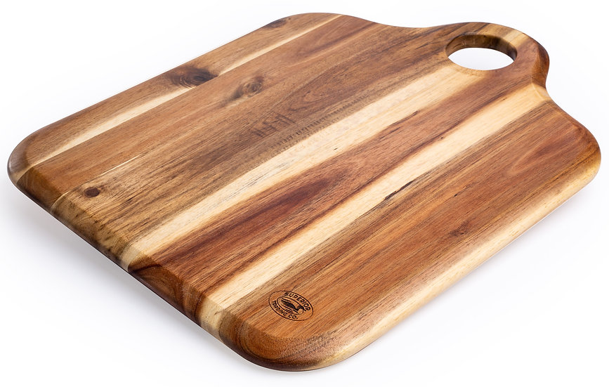 "Acacia Cutting Board with Wood Handle. 15"" x 12"""