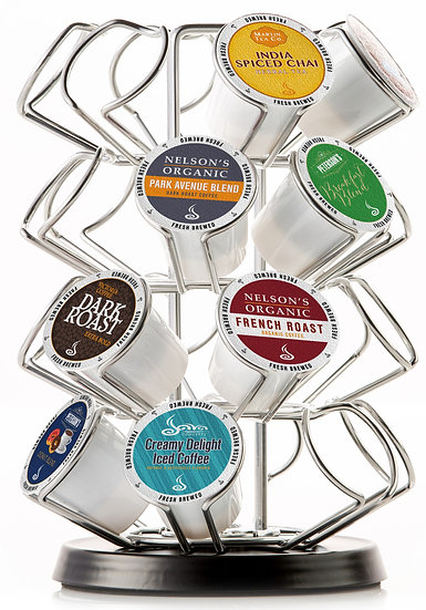 K Cup Carousel. 24 ct. Chrome w/ Black Base