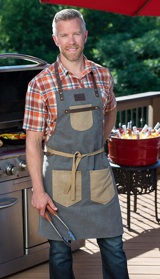 Professional BBQ Apron Bundle. Canvas Apron with Mitt, Hot Pad.